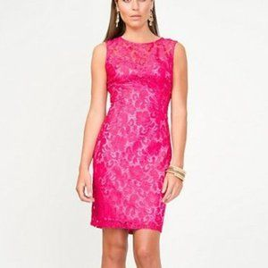 Le Chateau Pink Lace Overlay Shift Cocktail Dress